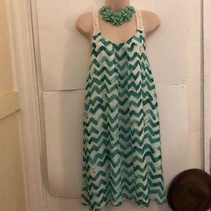 Rachel Roy green white dress M